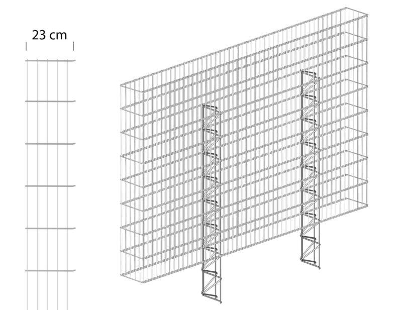 Gabionenzaun 23cm Grafik
